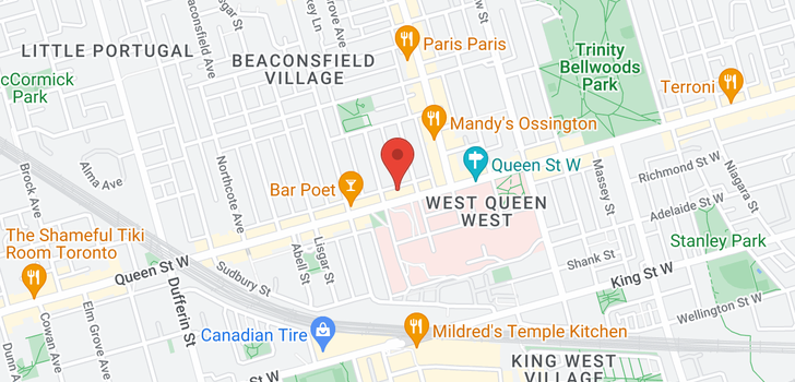 map of 1050 QUEEN ST W