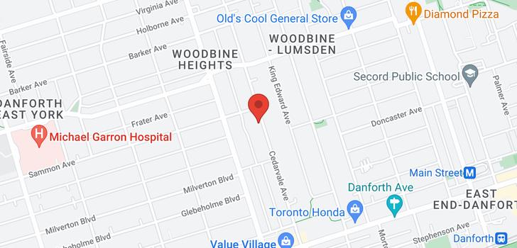 map of 254 Cedarvale Ave