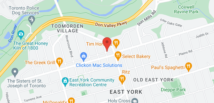map of  15 Elmsdale Rd E