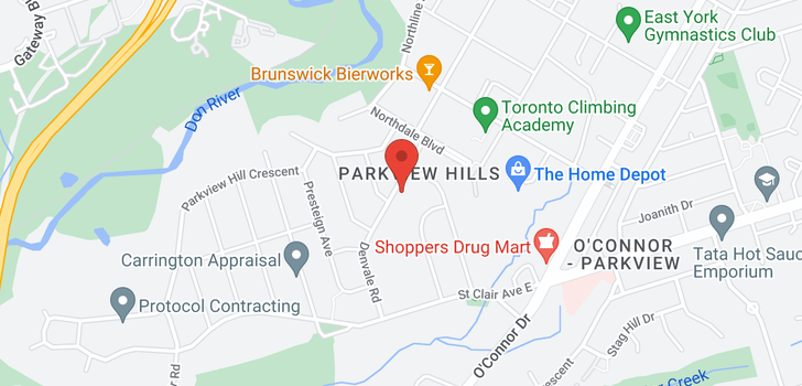 map of 71 Denvale Rd