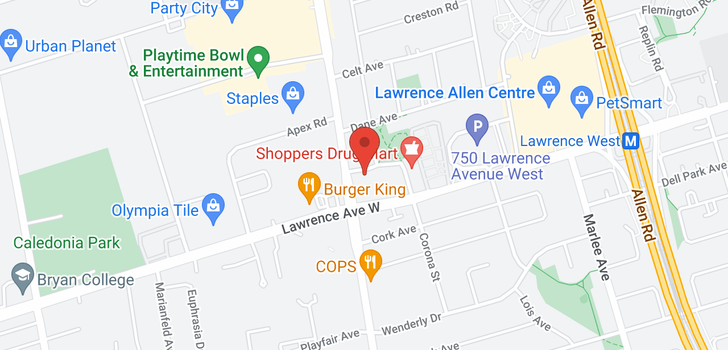 map of 1601 830 Lawrence Ave
