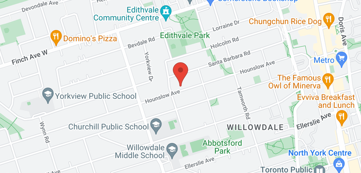 map of 230 Hounslow Ave