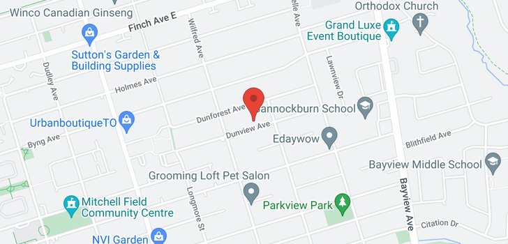 map of  250 Dunview Ave