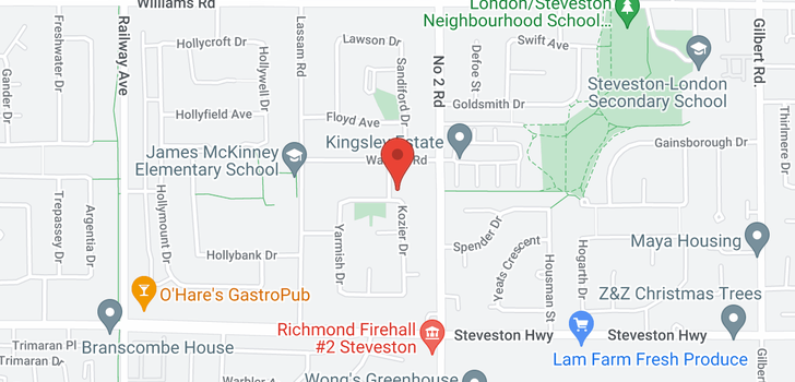map of 10520 KOZIER DRIVE