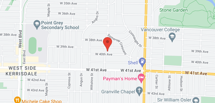 map of 1691 W 40TH AVENUE