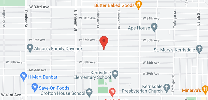 map of 3158 W 36TH AVENUE