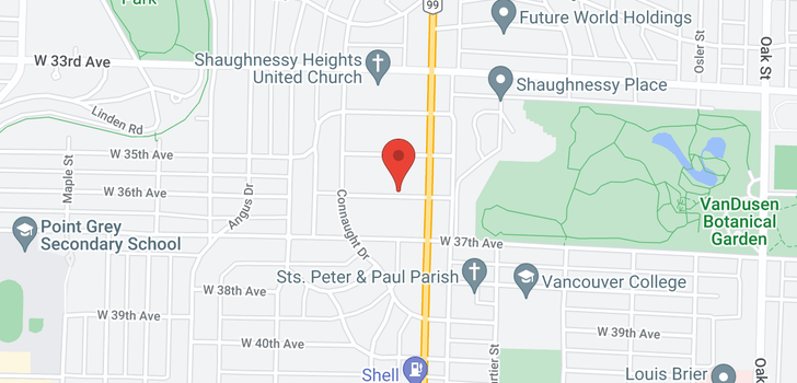 map of 1529 W 36TH AVENUE