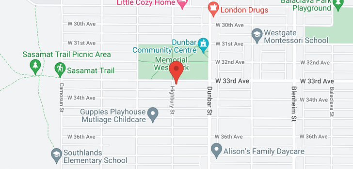 map of 3792 W 33RD AVENUE