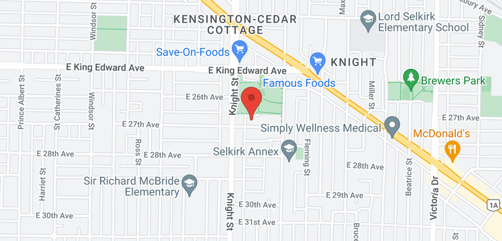 map of 1427 E 27TH AVENUE