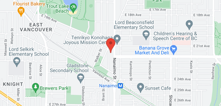 map of 3747 NANAIMO STREET