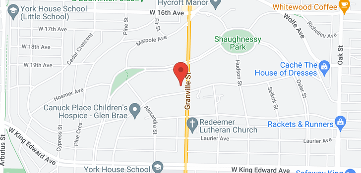 map of 3589 GRANVILLE STREET