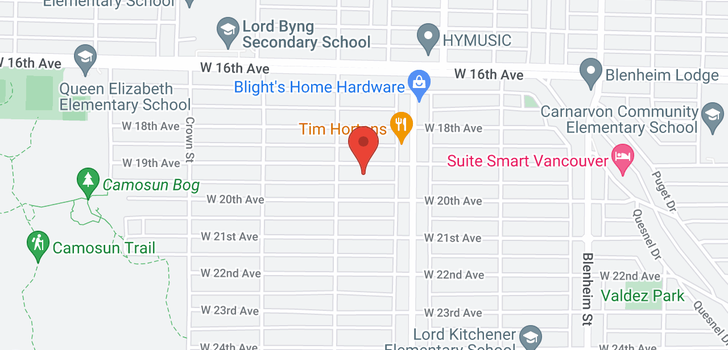 map of 3728 W 19TH AVENUE
