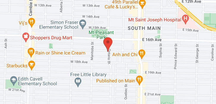 map of 1 6 WEST 17TH AVENUE