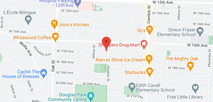 map of 101 717 W 17TH AVENUE