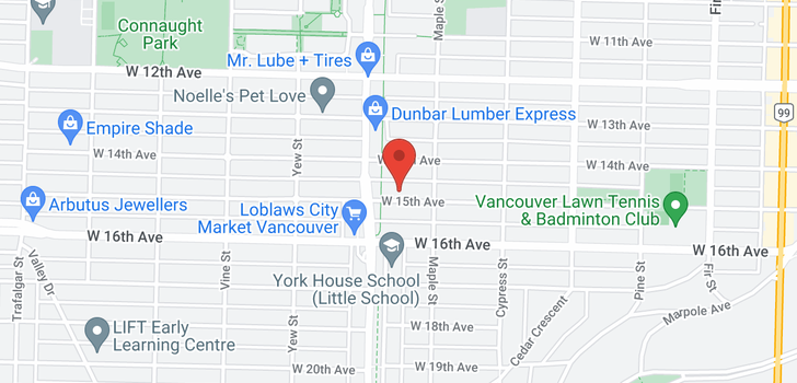 map of 2049 W 15TH AVENUE