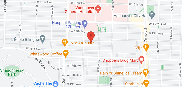 map of 303 838 W 14TH AVENUE