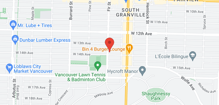 map of 102 1595 W 14TH AVENUE