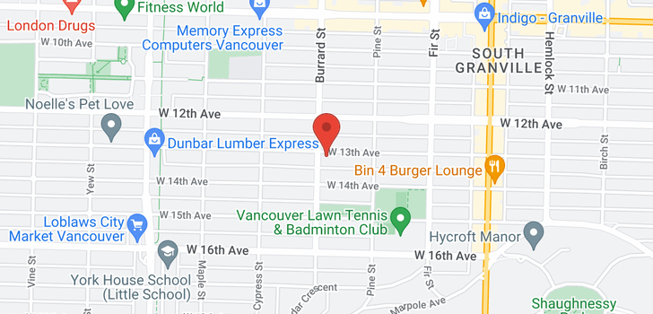 map of 100 1788 W 13TH AVENUE