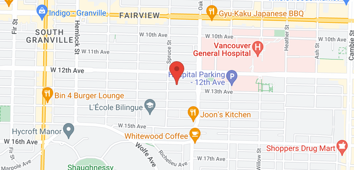 map of 104 1075 W 13TH AVENUE
