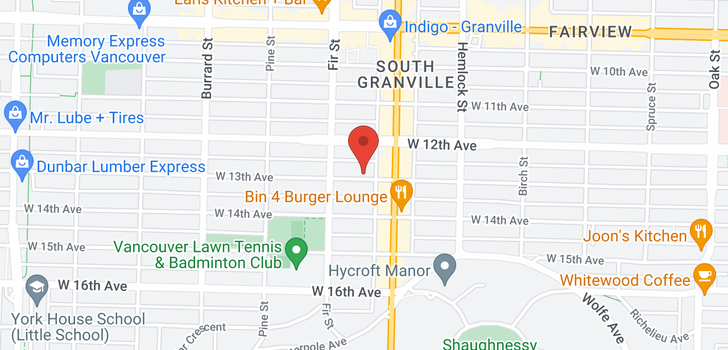 map of 203 1545 W 13TH AVENUE