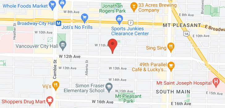 map of 129 131 W 12TH AVENUE