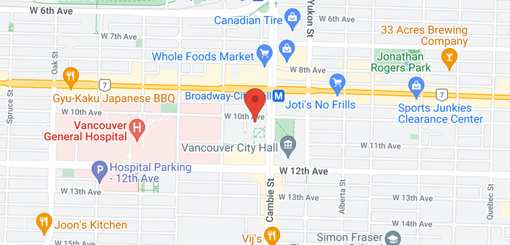 map of 301 500 W 10TH AVENUE