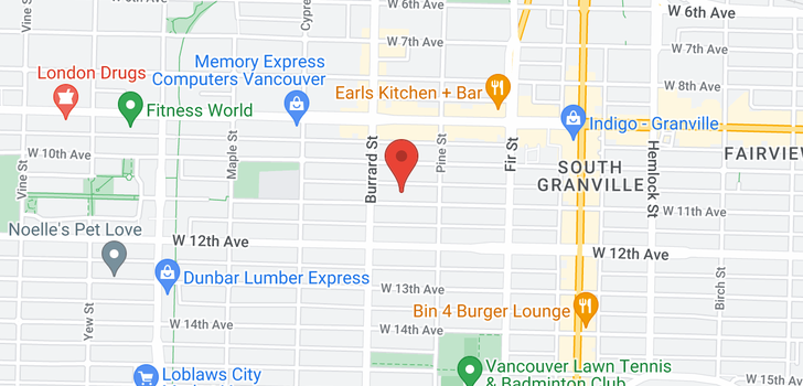 map of 101 1753 W 11TH AVENUE