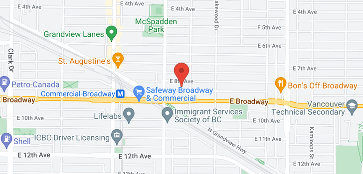 map of 1968 E 8TH AVENUE
