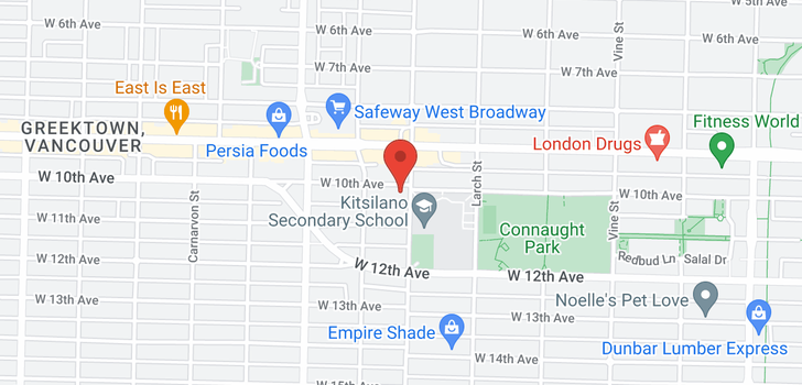 map of 2610 W 10TH AVENUE