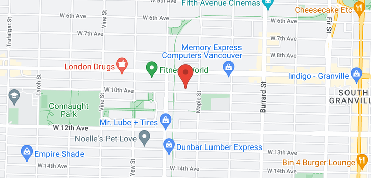 map of 2021 W 10TH AVENUE