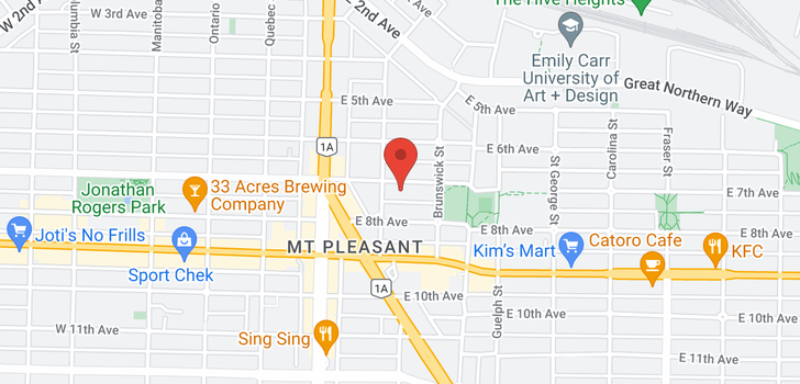map of 105 330 E 7TH AVENUE