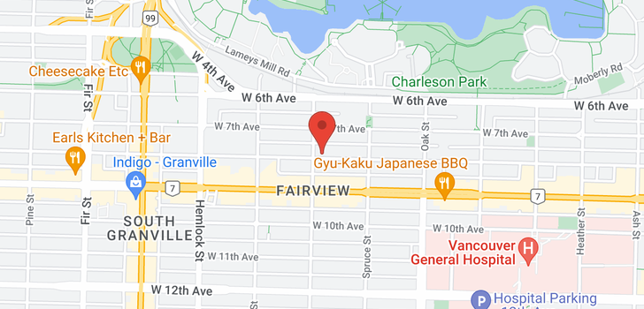 map of 101 1195 W 8TH AVENUE