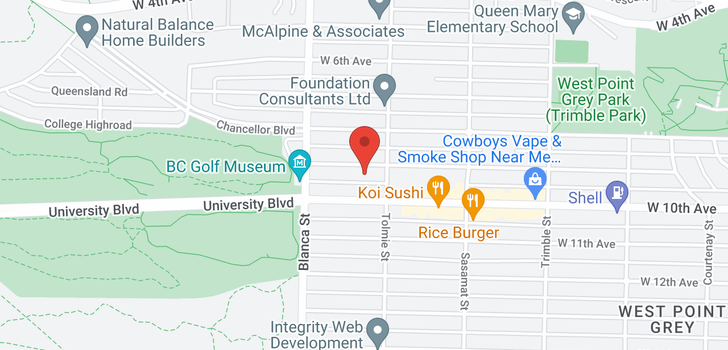 map of 4626 W 9TH AVENUE