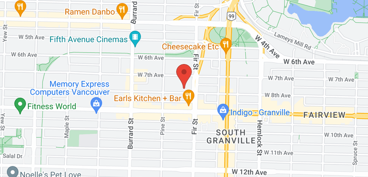 map of 106 1633 W 8TH AVENUE