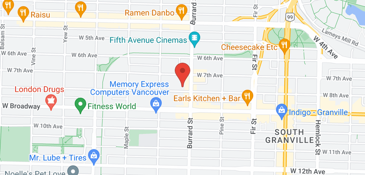 map of 208 1825 W 8TH AVENUE