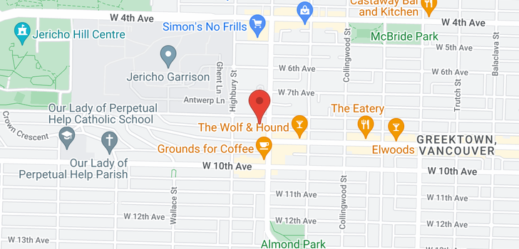 map of 404 3720 W 8TH AVENUE