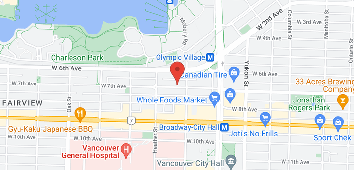 map of 306 629 W 7TH AVENUE