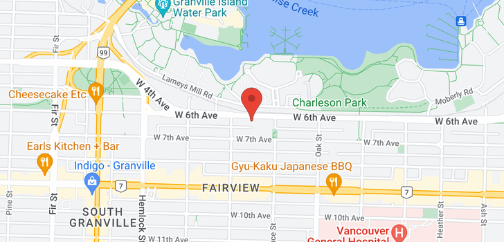 map of 304 1166 W 6TH AVENUE