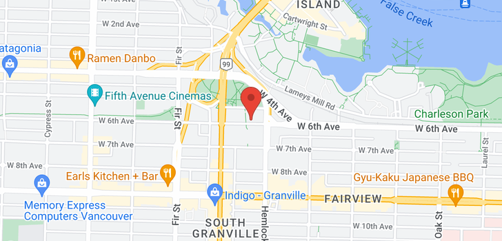 map of 705 1425 W 6TH AVENUE
