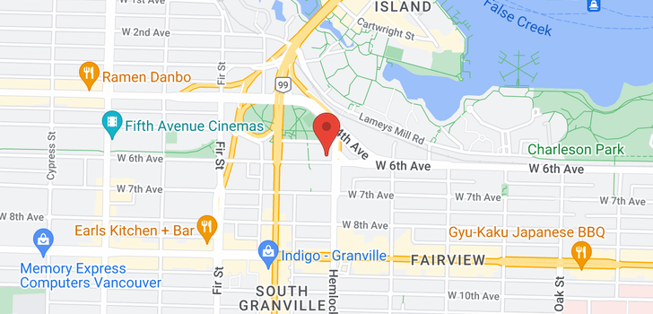 map of 607 1425 W 6TH AVENUE