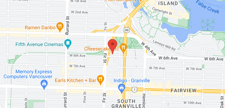 map of 705 1565 W 6TH AVENUE