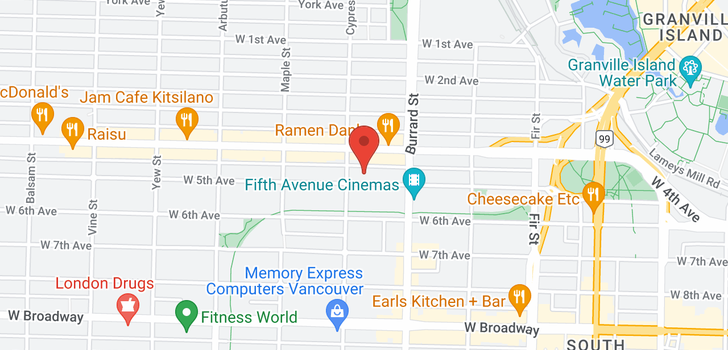 map of 211 1877 W 5TH AVENUE