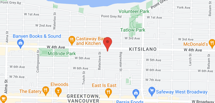 map of 31 3036 W 4TH AVENUE