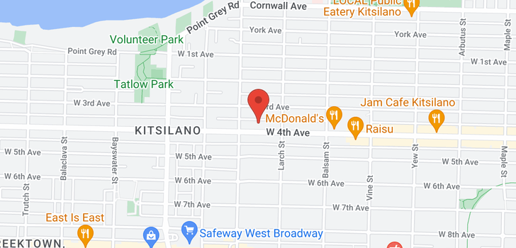 map of 102 2555 W 4TH AVENUE