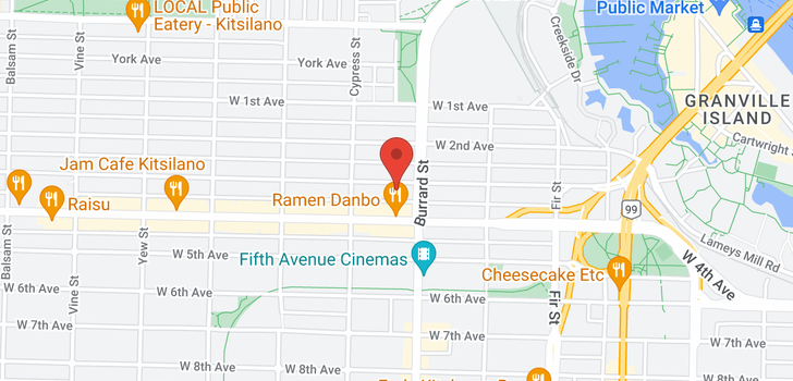 map of 102 1820 W 3RD AVENUE