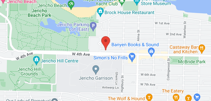 map of 214 3875 W 4TH AVENUE