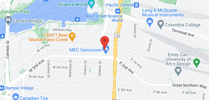 map of 612 108 E 1ST AVENUE