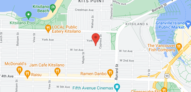 map of 302 1935 W 1ST AVENUE