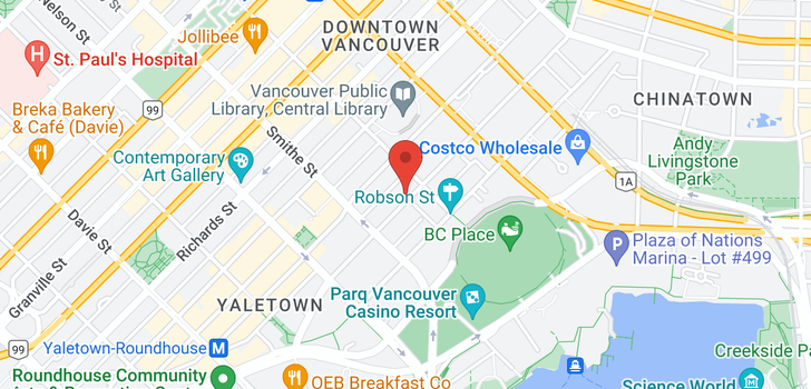 map of 1201 821 CAMBIE STREET