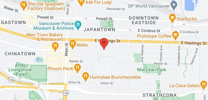 map of 429 E PENDER STREET